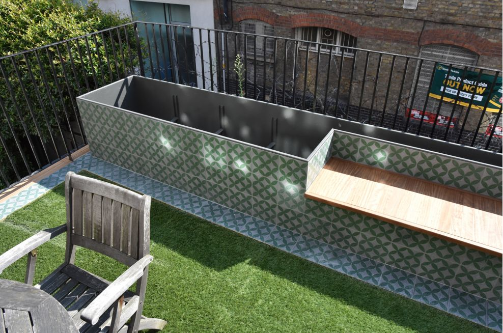 Planter Incorporating A Bench At A Residential Garden Terrace In London