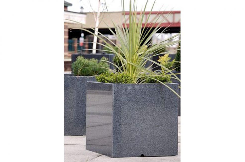 Close Up Of The Granite Cube 600 Planters