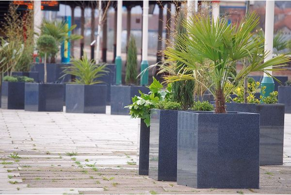 IOTAs Granite Natural Stone Planters in Rhyl Town Centre