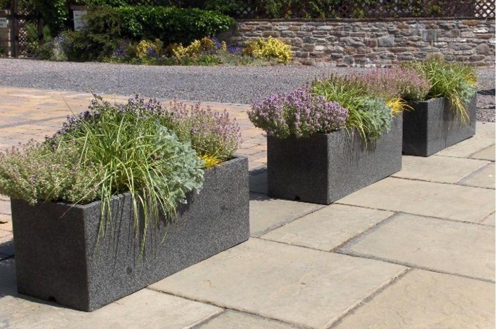 Extra Large Granite Trough Planter From IOTA
