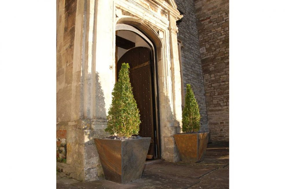 Slate Low Taper Planters Adorning The Entrance
