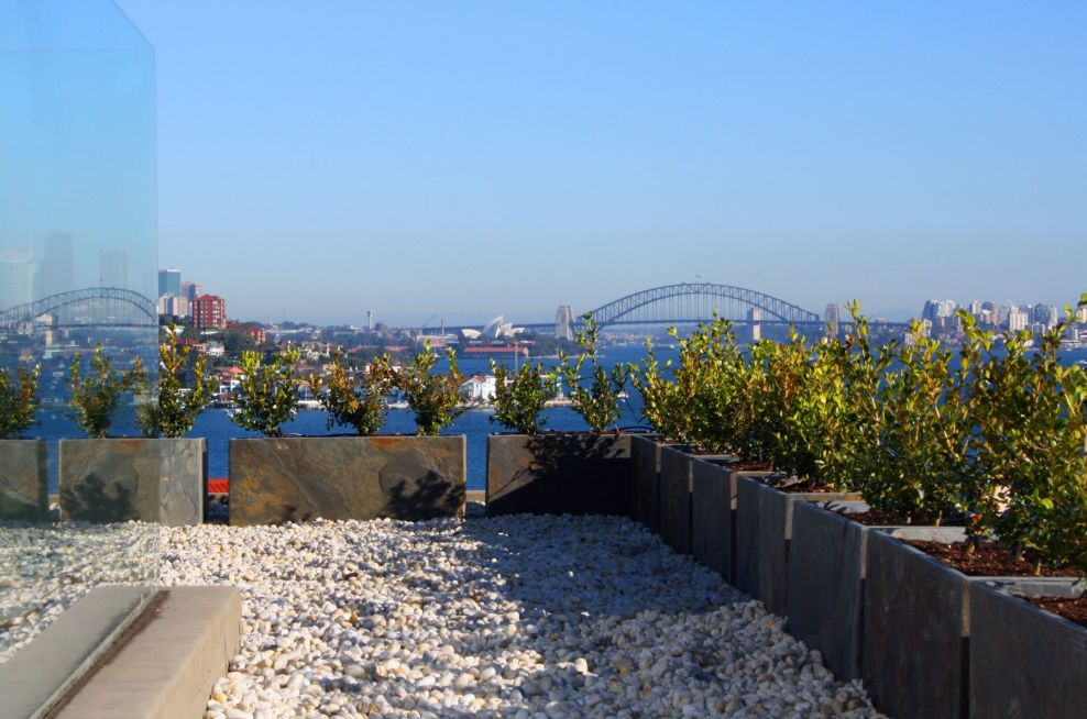 Slate Planters Bordering The Edge Of The Rose Bay, Sydney, Australia