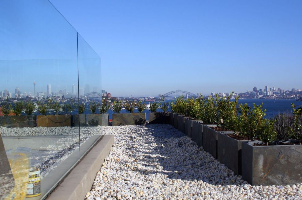 Slate Planters Feature On The Roof Top Of A Private Residence