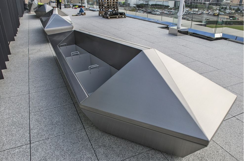 Stainless Steel Bench Planters With Mirror Image Designs