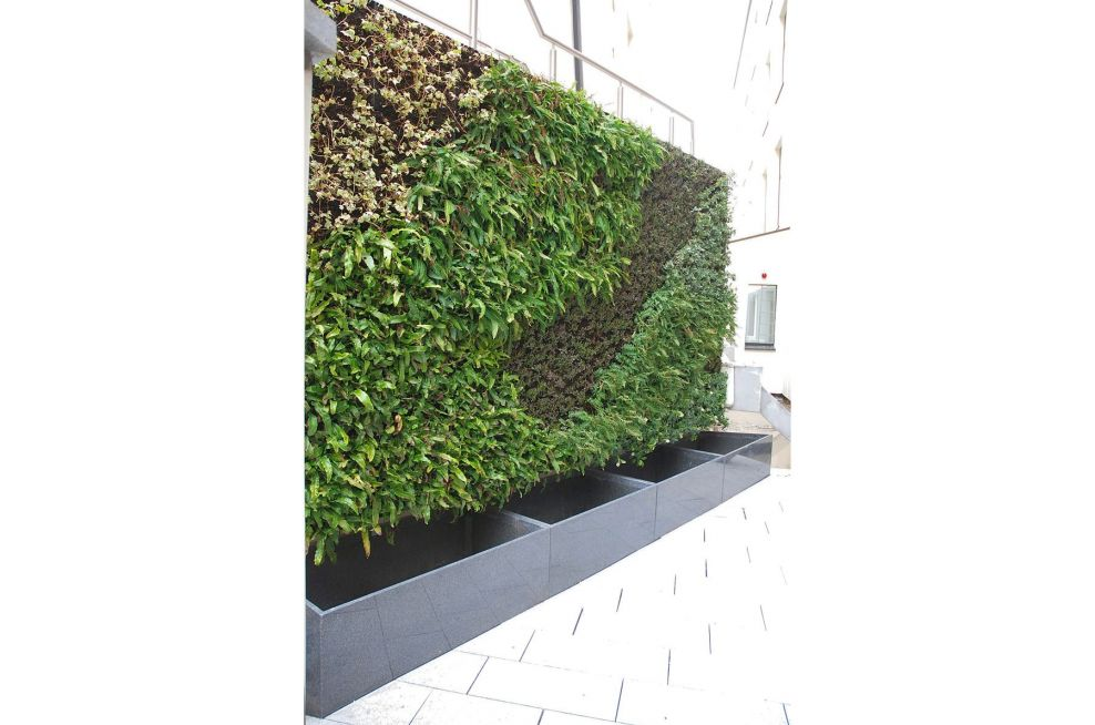 Custom Granite Planters Integrated Within Green Wall System