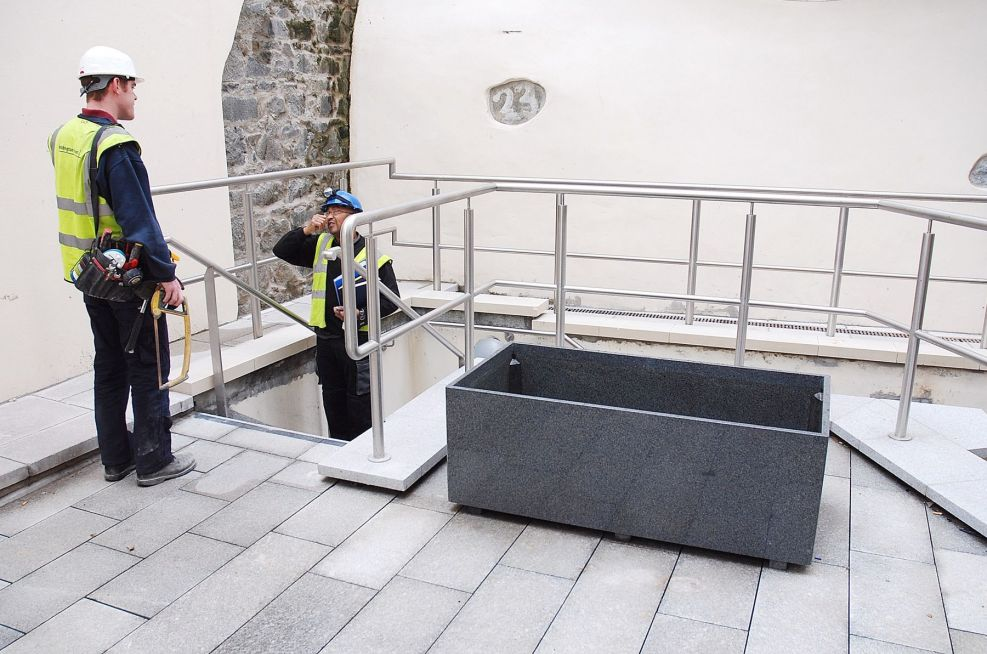 Scale Of The Largest Granite Trough Planter