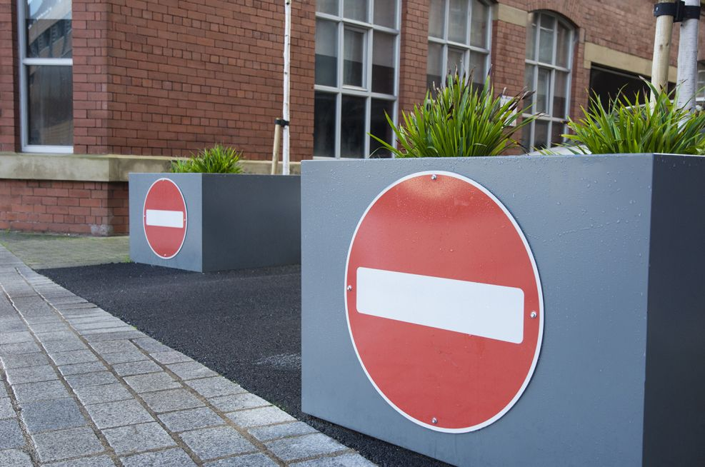 No Entry Sign On Steel Trough Planters