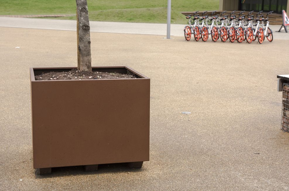 Planters moveable via forklift or pallet truck