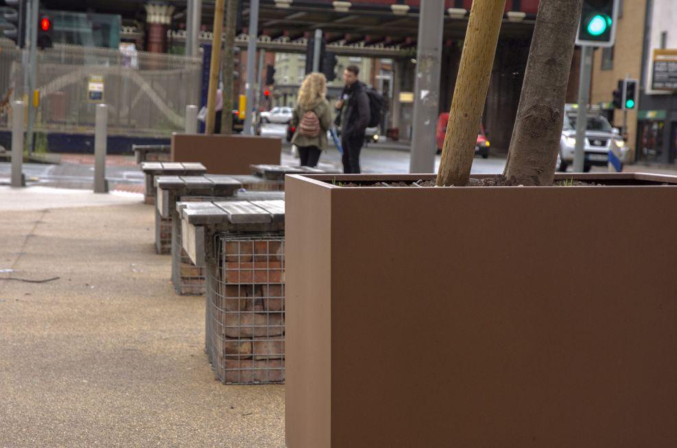 Large, custom sized powder coated steel planters