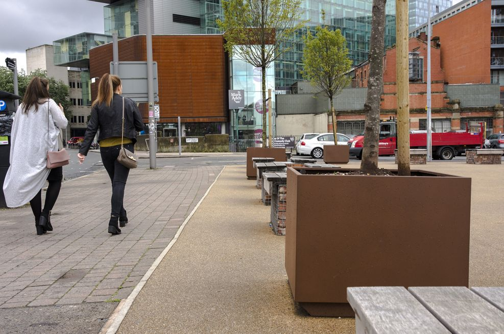Tree planters for office development public planters