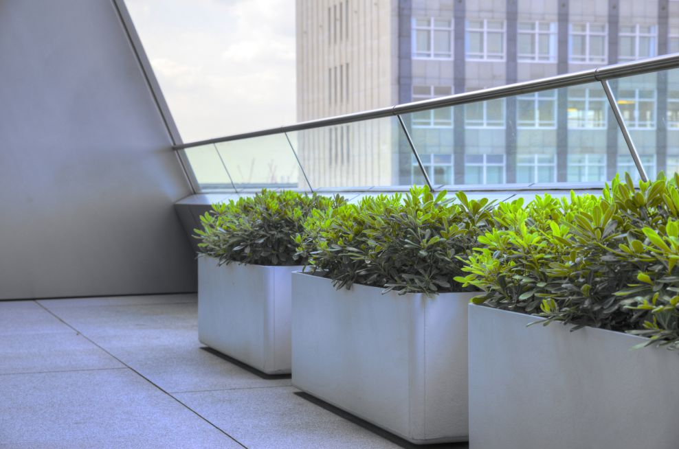 Powder Coated Trough Planters On Terrace