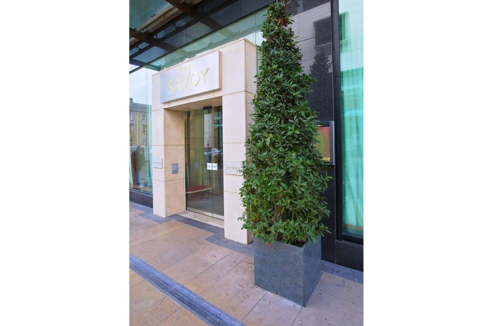 Square Natural Stone Planter Outside Front Entrance