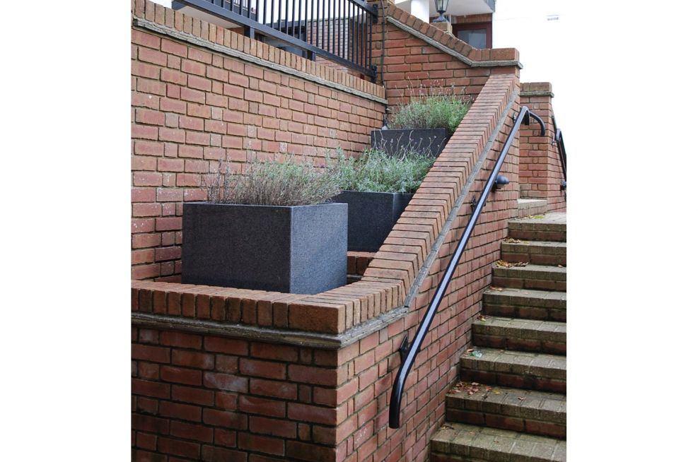 Square Planters Incorporated Into The Stairs
