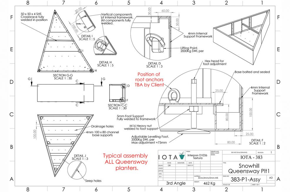 Planter internal bracing and support CAD design