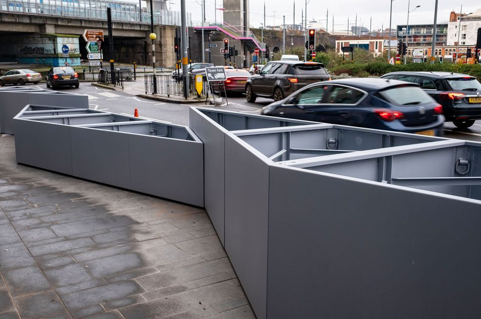Road barrier protection planters
