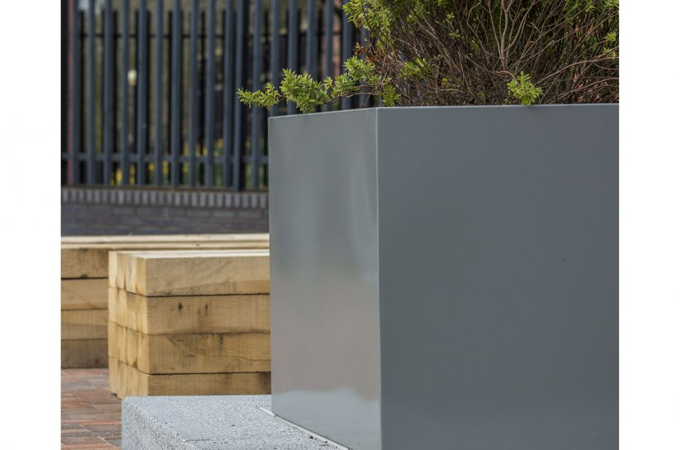 Powder Coated RAL 9007 Steel Planters