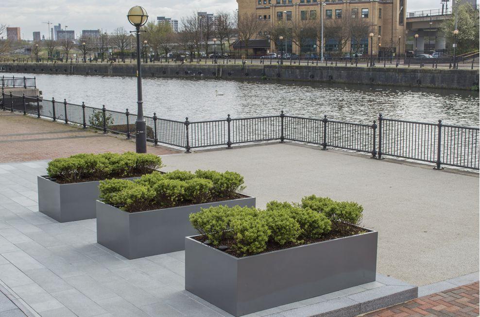 Public Powder Coated Promenade Planters