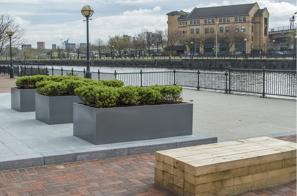 Trough Planters At Soapworks, Salford Quays, Manchester