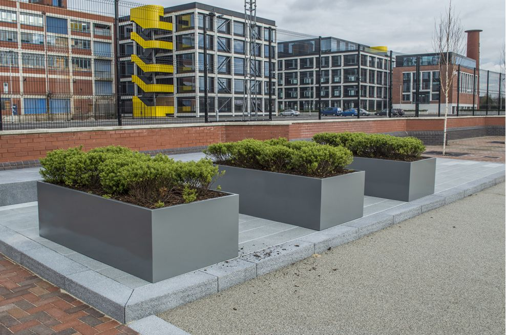 Zintec Steel Powdercoated Planters Salford Quays, Manchester