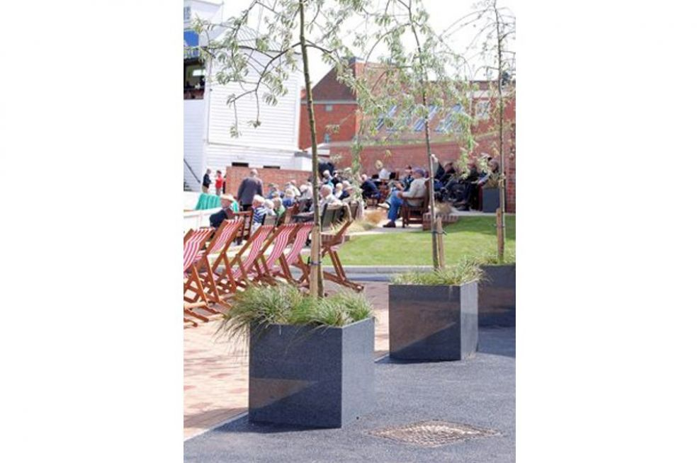 Granite Cube Planters Used As Tree Planters