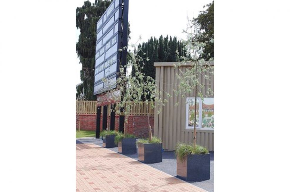 Granite Natural Stone Planters In A Row