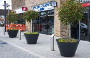 Flared conical planters for public streets