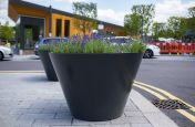 Sharply flared steel street planters