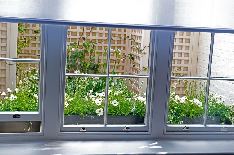 Basement Light Well With Windowbox Planters