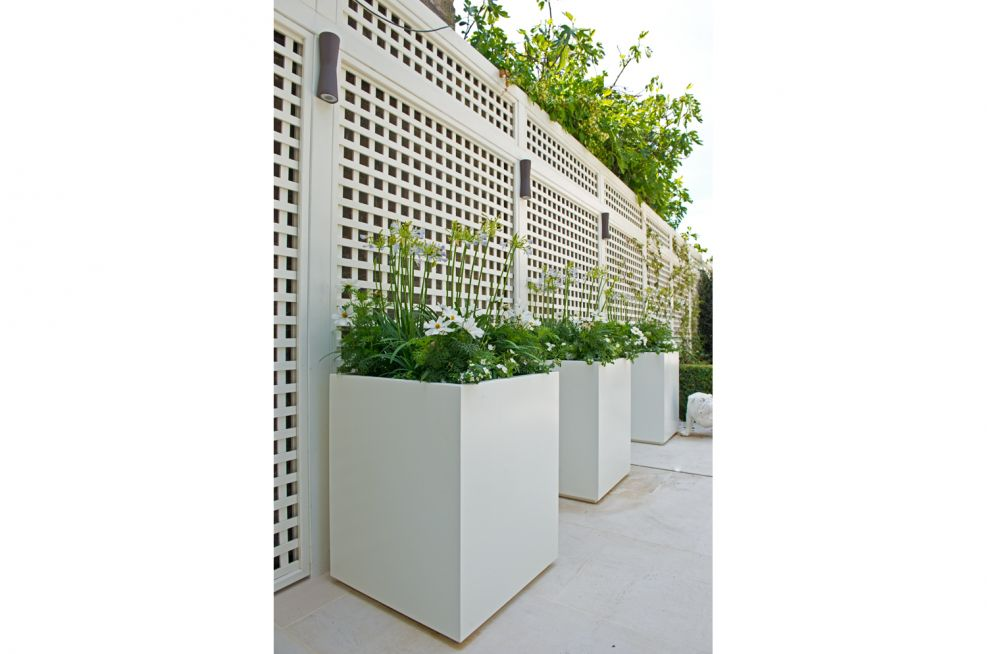 Close up Of White Steel Powder Coated Planters