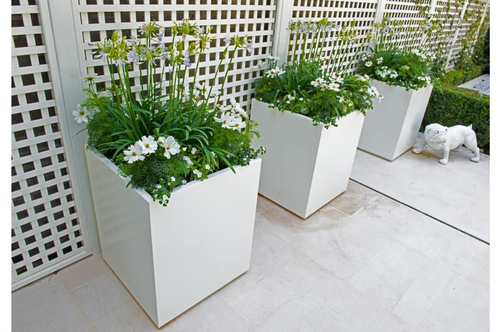RAL 9010 Pure White Steel Planters