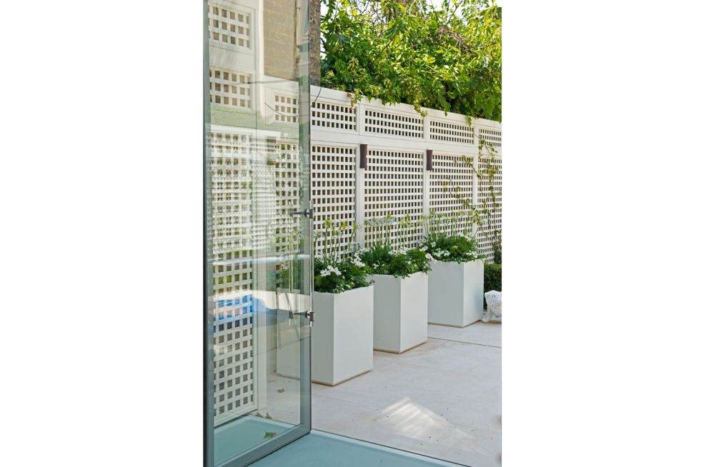 White Steel Powder Coated Planters In Courtyard