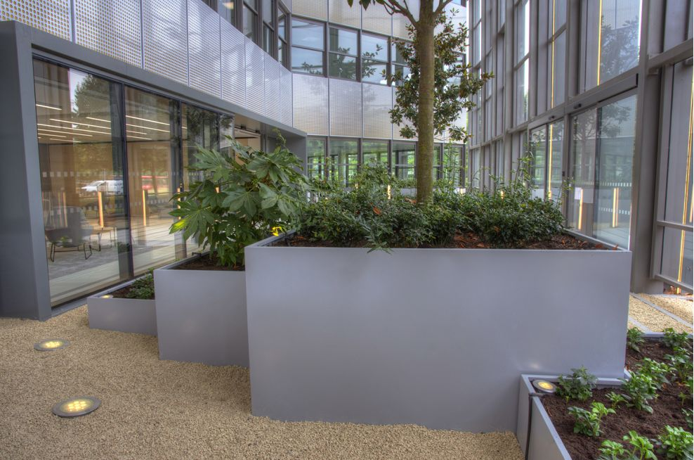 Interlocking Steel Planters With Stepping Effect