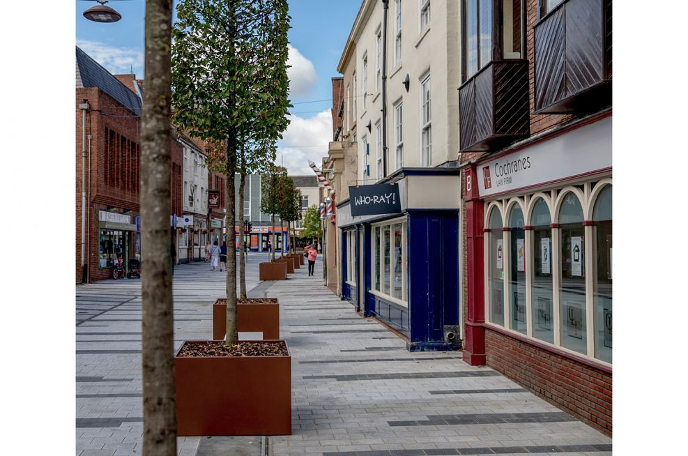 Steel planters for town centre public realm