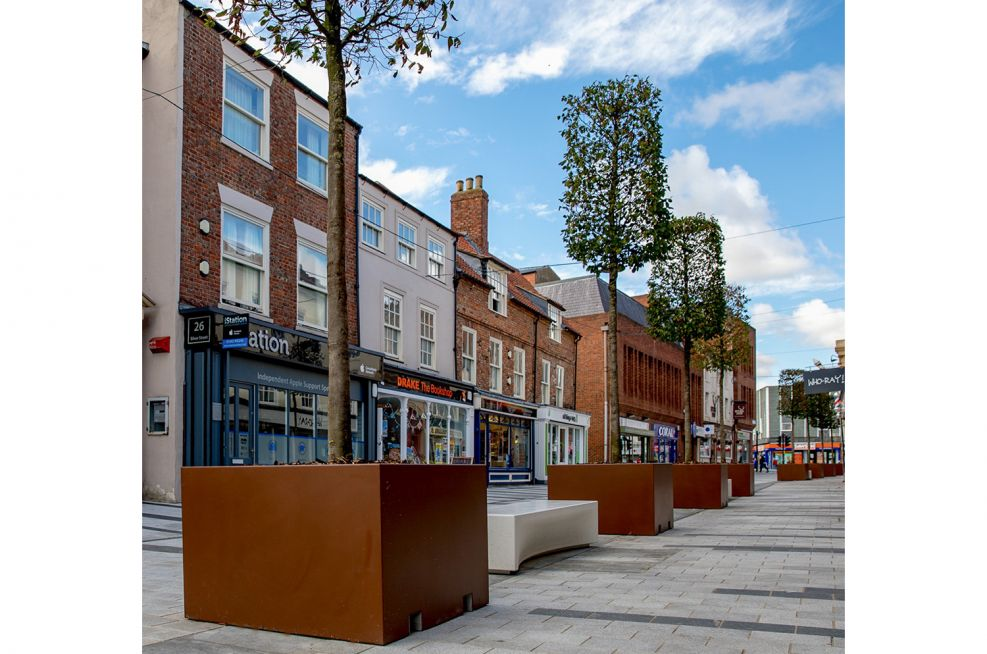Powder Coated tree planters for public spaces