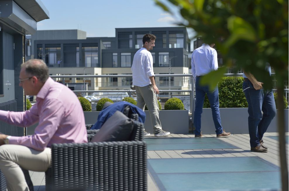 Square Planters and Tree Parents On The Roof Terrace