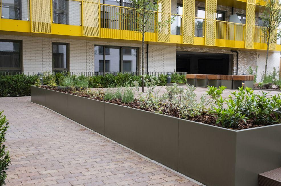 Large continuous garden planters