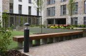 Landscape planters and wooden seating