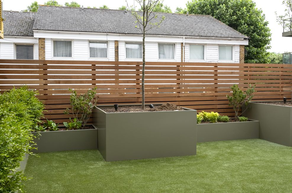 Matching tree planters and garden trough planters
