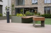 Large planters with benches and matching seating