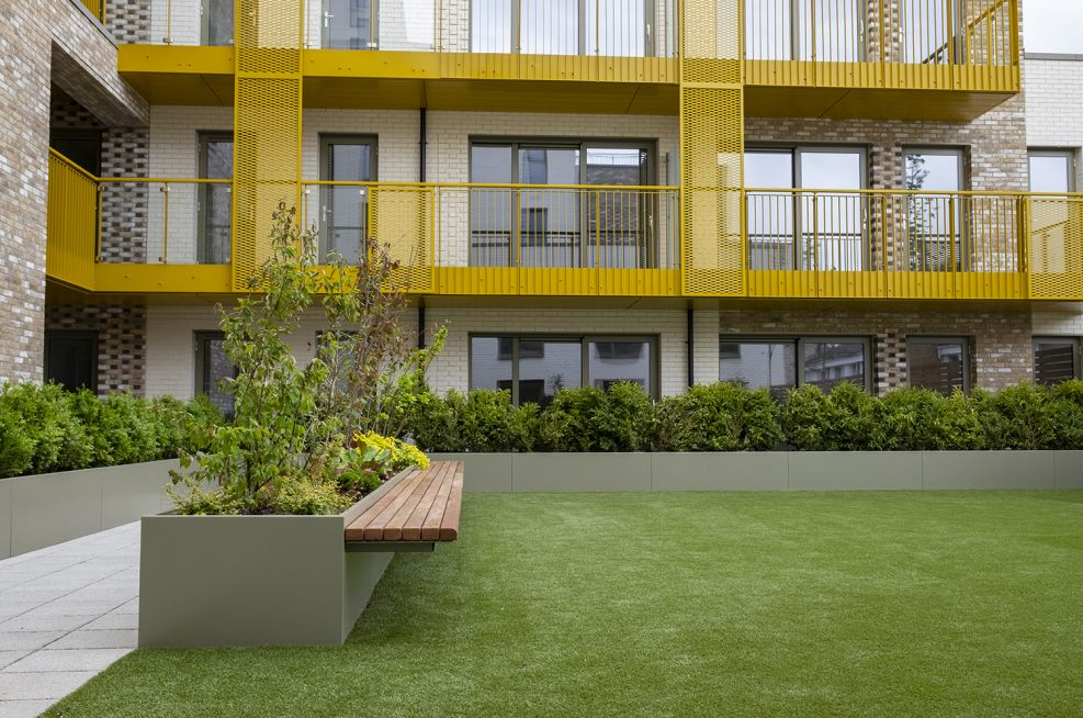 Community garden planters and cantilever seating