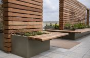 Planters with hardwood bench seats