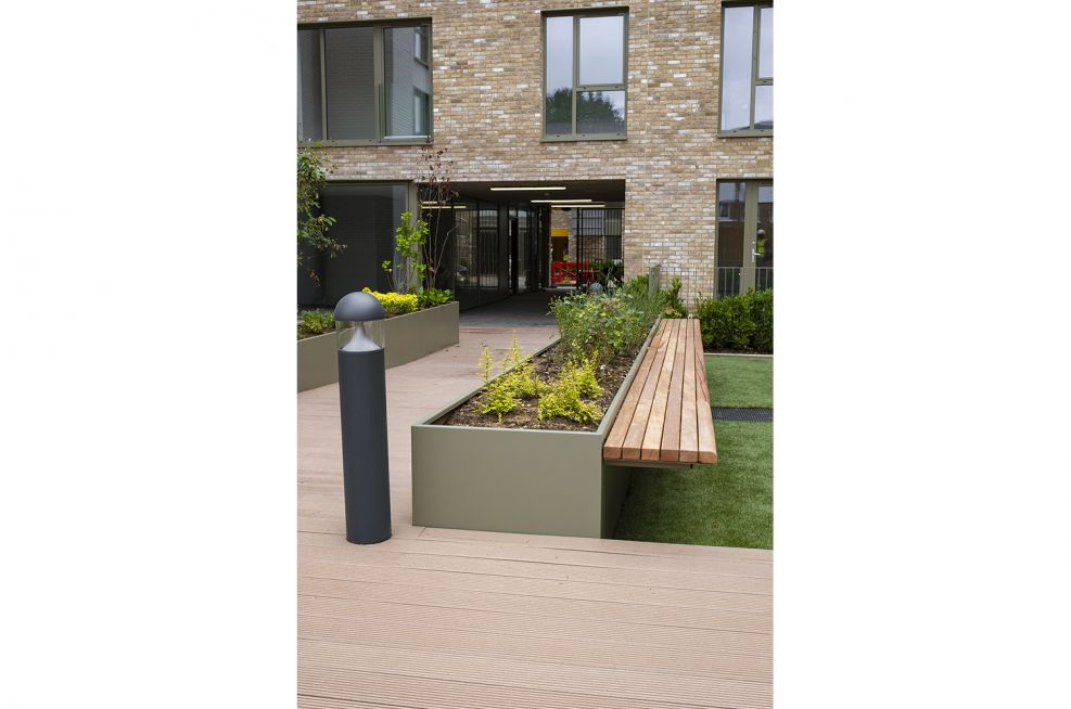 Planters with Iroko hardwood seating