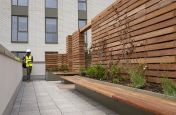 Planters with wooden privacy partitions