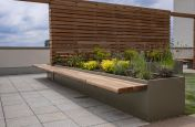 Rooftop garden planters and cantilever seating
