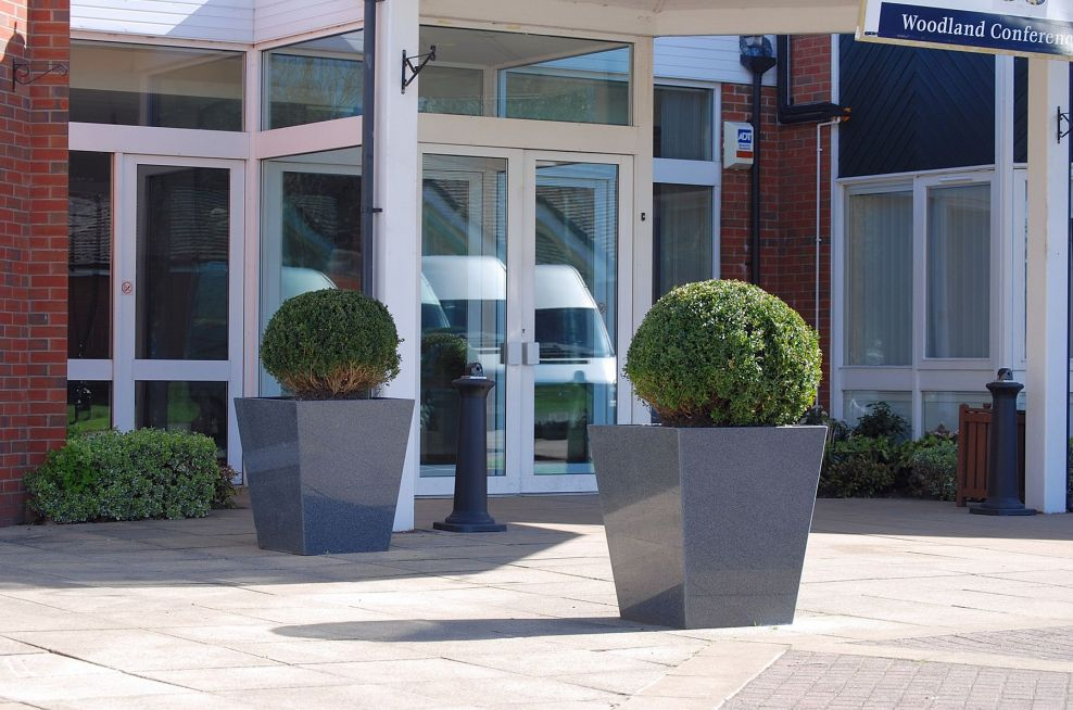 Taper 800 Planters At The Entrance To The Belfry