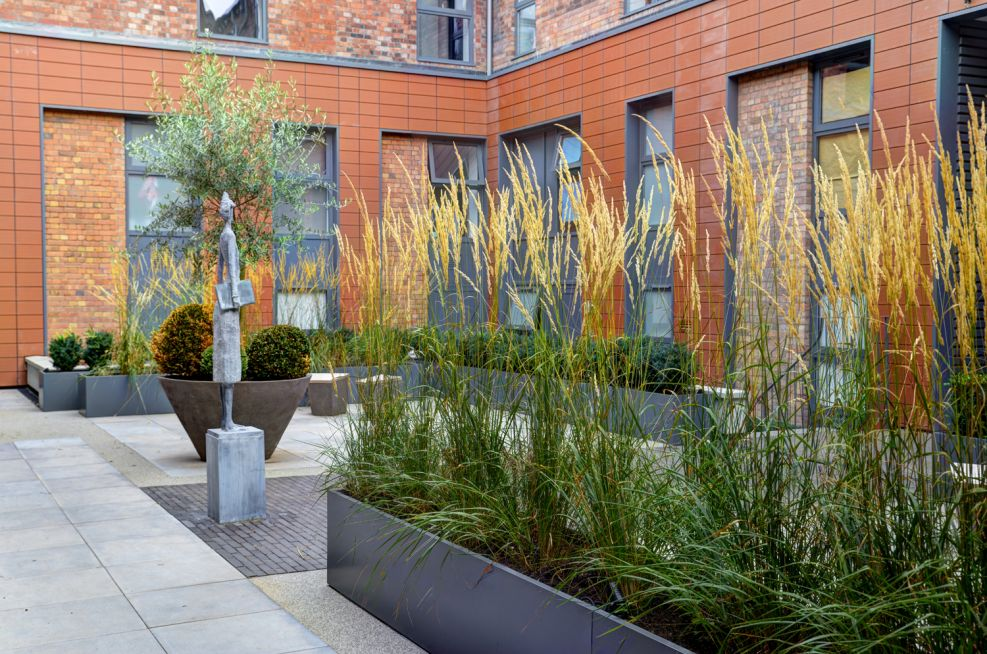 Basalt Grey Planters At The Old Library, Leamington Spa