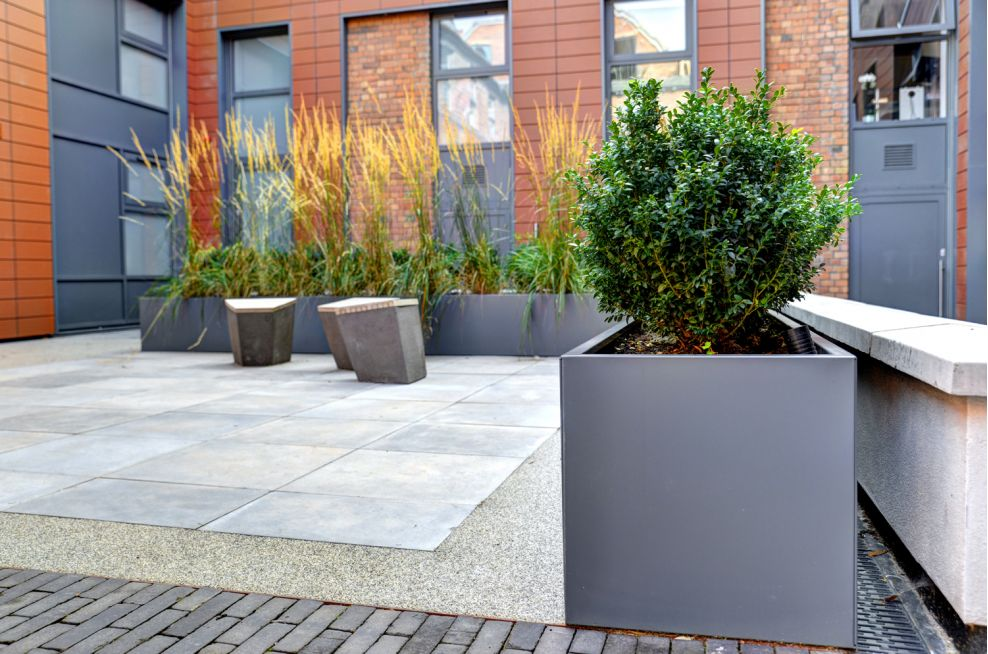 Steel Planters Close Up