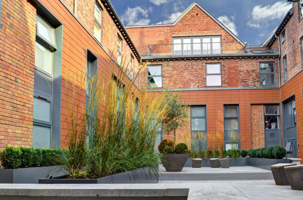 Steel Trough Planters Courtyard