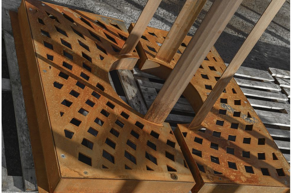 Corten Steel tree grilles and guards