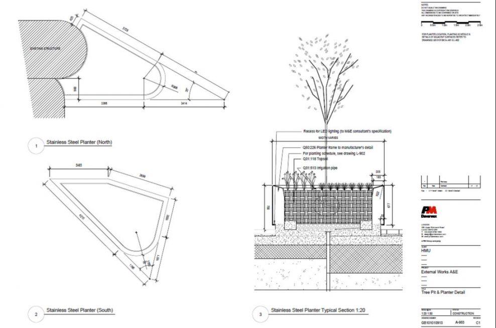 Bespoke tree planters of complex, asymmetrical form